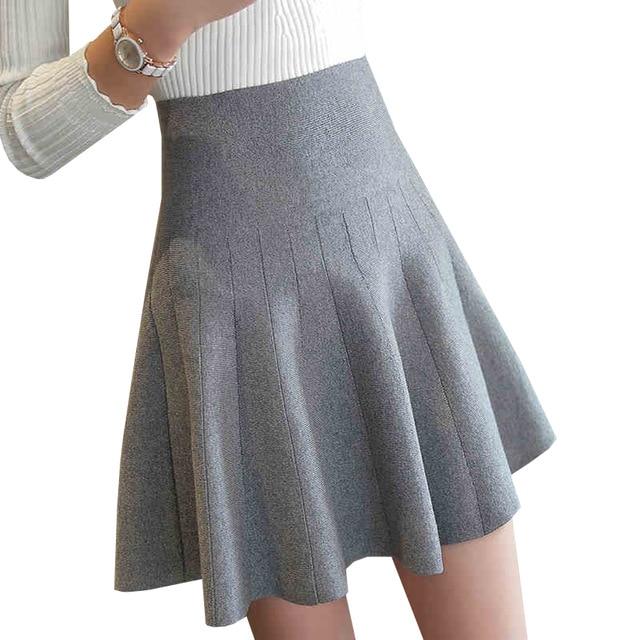 New Women Knitted Skirt Autumn Winter Sexy Solid High Waist Short
