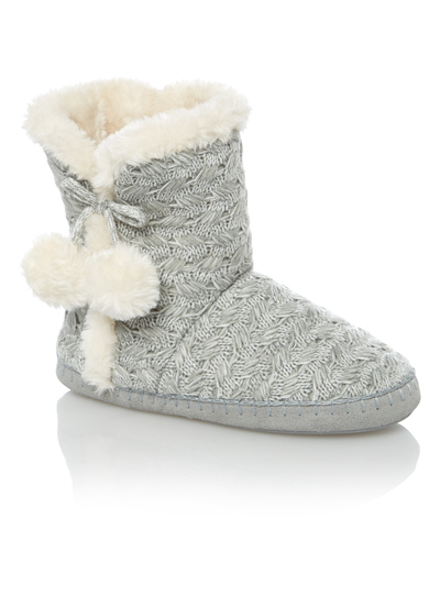 Womens Grey Cable Knit Slipper Boots | Tu clothing