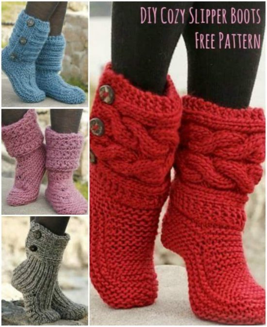 Knitted Slipper Boots Pattern Ideas That You Will Love