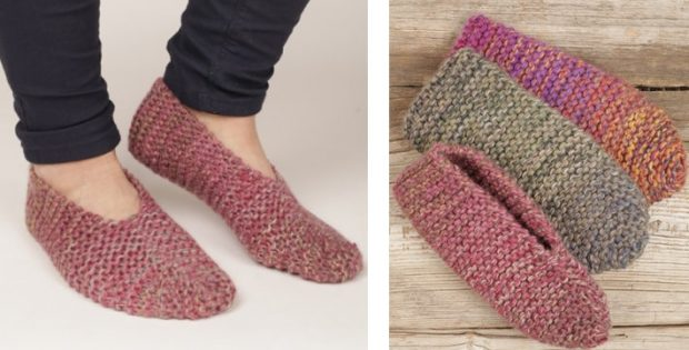Side Step Knitted Garter Slippers [FREE Knitting Pattern]