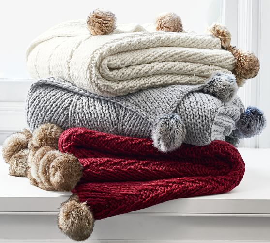 Faux Fur Pom Pom Knitted Throw   Pottery Barn