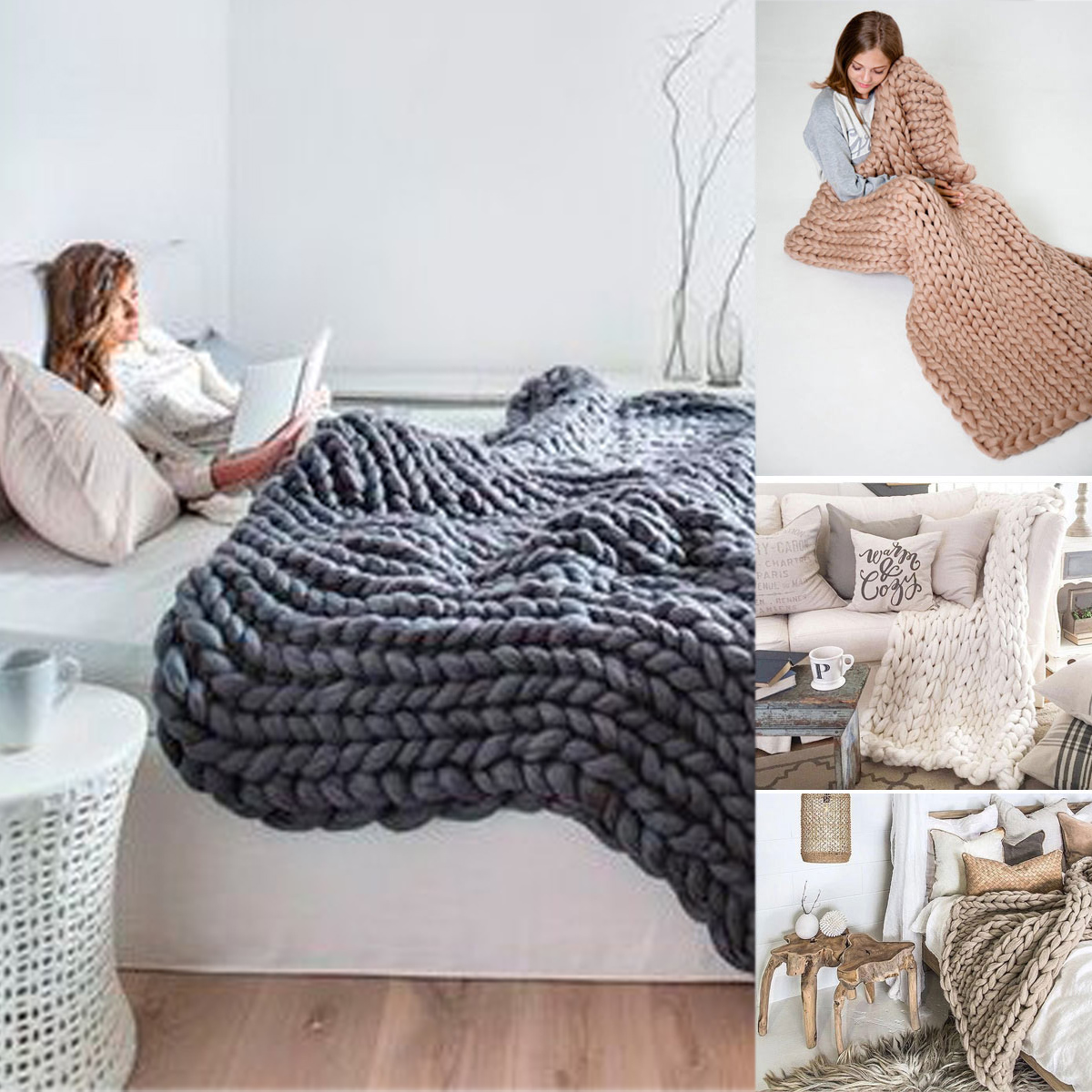 Hand-woven Bulky Winter Warm Soft Chunky Knit Blanket Thick Yarn