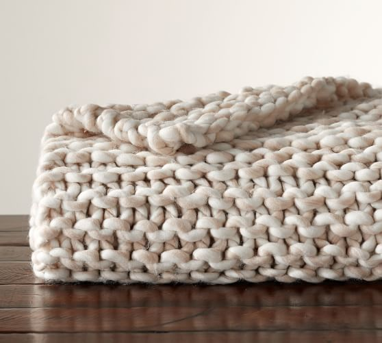 Chunky Hand-Knit Throw | Pottery Barn