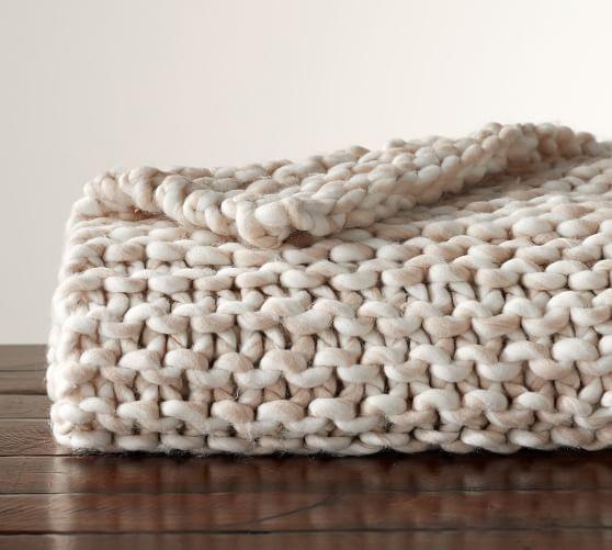 Chunky Hand-Knit Throw   Pottery Barn