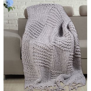 Large Grey Knitted Throw   Wayfair.co.uk