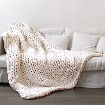 Amazon.com: Vibola 100X120cm Chunky Knit Blanket Merino Wool arm