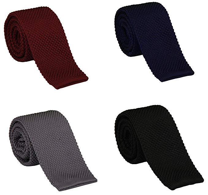 Gellwhu 4PCS Ties for Men, Mens Knit Tie, Skinny Tie, Solid Slim