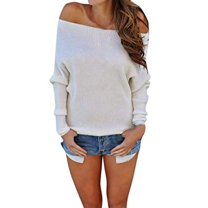 Amazon.com: Women Long Sleeve Knitted Tops Daoroka Ladies Sexy Off