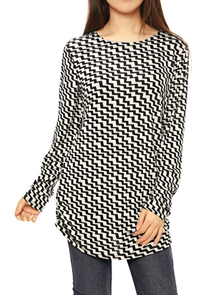 Allegra K Women's Long Sleeve Printed Shirred Sides Knitted Tunic