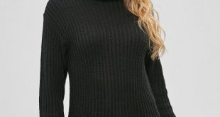 2019 Knitted Tunic Turtleneck Sweater In BLACK ONE SIZE | ZAFUL