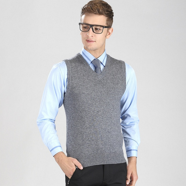 2017 New 35%Wool V Neck Men sleeveless knitted Vest Business casual