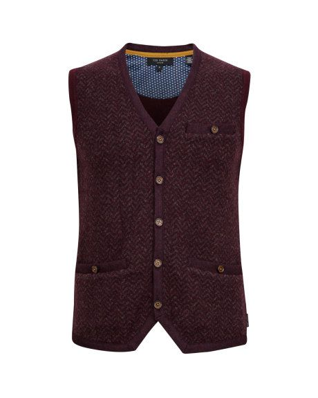 PRESUP - Knitted waistcoat - Dark Red | Men's | Ted Baker UK | Gift