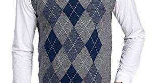 Men's V-Neck Argyle Pattern Sweater Vest Cardigan Knitted Waistcoat
