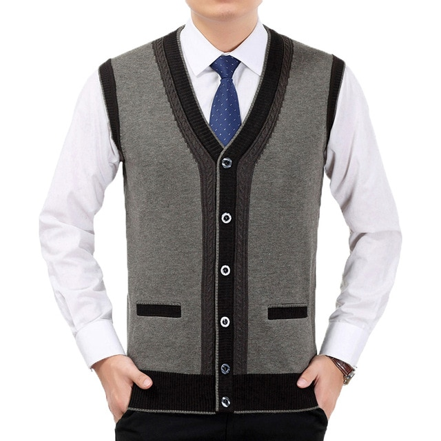 Men Cashmere Wool Vest Spring Autumn Knitted Waistcoat Man V neck