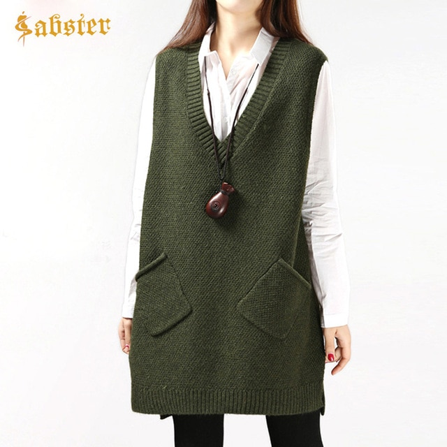 2018 New Autumn Casual V Neck Long Knitted Waistcoat Sleeveless