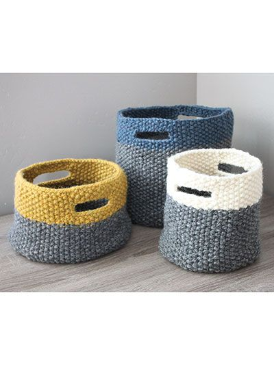 Three Sizes of Baskets with Handles Knitting Pattern | Knitting