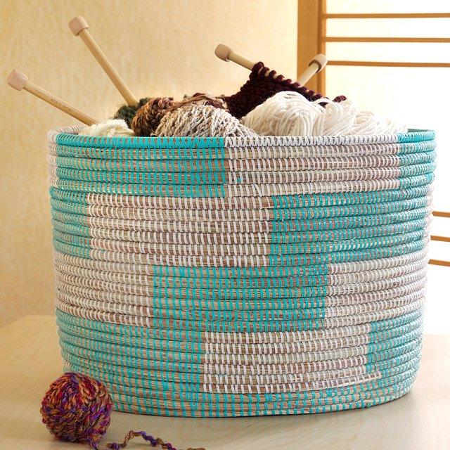 Handmade Herringbone Knitting Basket | woven storage basket