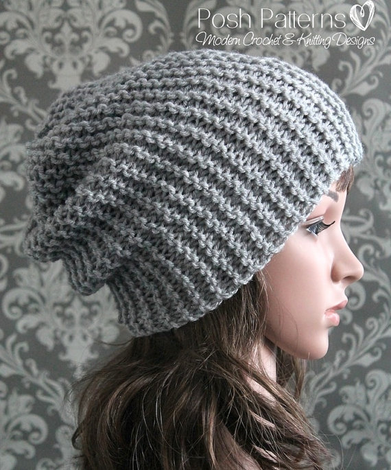 Knitting PATTERN - Easy Beginner Knit Slouchy Hat Pattern - Knitting