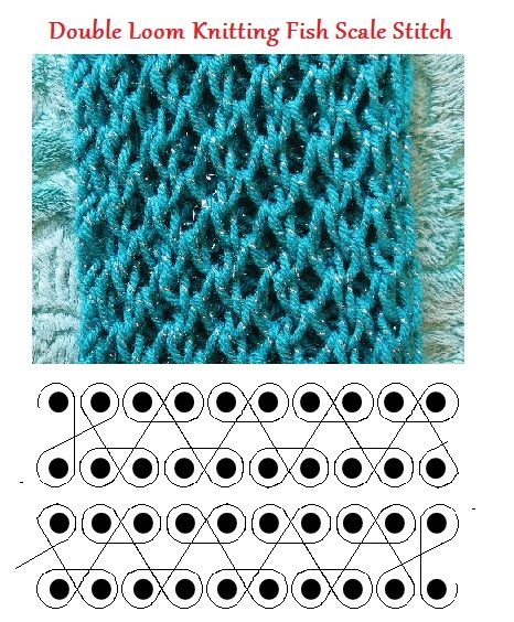 Double loom knitting fish scale stitch by Theresa Higby. | Loom