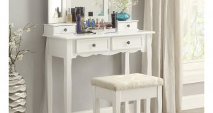 Roundhill Furniture Sanlo White Wooden Vanity, Make Up Table and