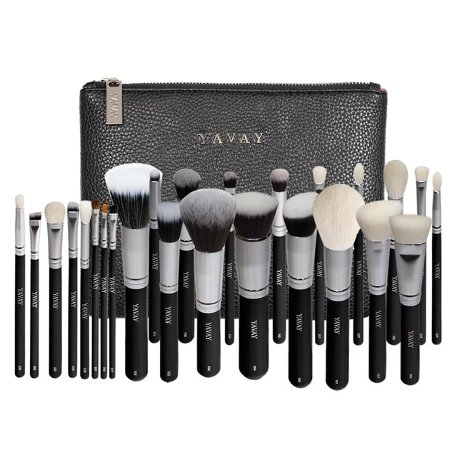 YAVAY 25pcs Original Pro Luxury Artist Makeup Brush Set Goat Hair