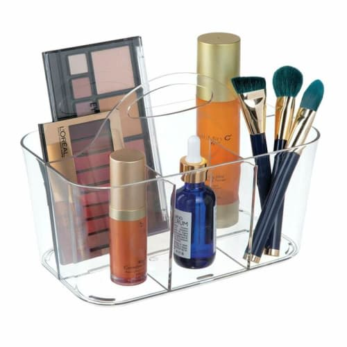 Mdesign Plastic Makeup Storage Organizer Caddy Tote - Divided Basket