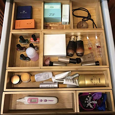 Amazon.com: softwalking Bamboo Bathroom Makeup Drawer Organizer