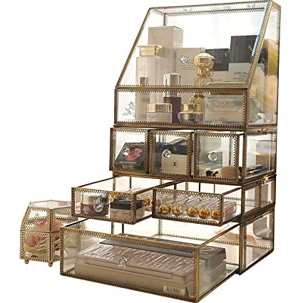 Amazon.com: Antique Spacious Makeup Organizer Mirror Glass Drawers