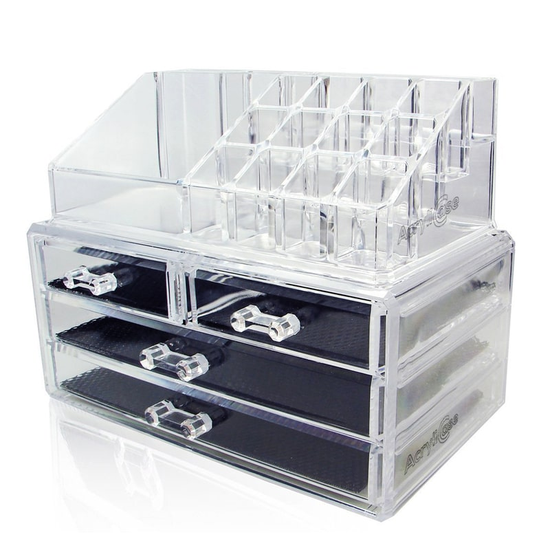 Acrylic Makeup Organizer Cosmetic Jewelry Display Box 2 Piece Set by