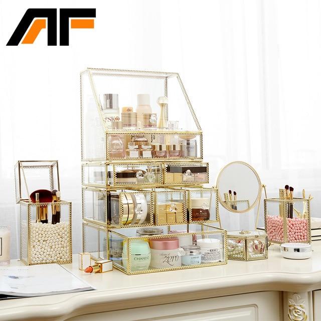 AF Luxury Large Makeup Storage Glass Et Metal Edge Cosmetics