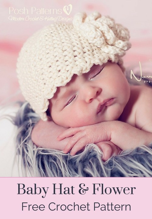 Baby Hat and Flower Free Crochet Pattern