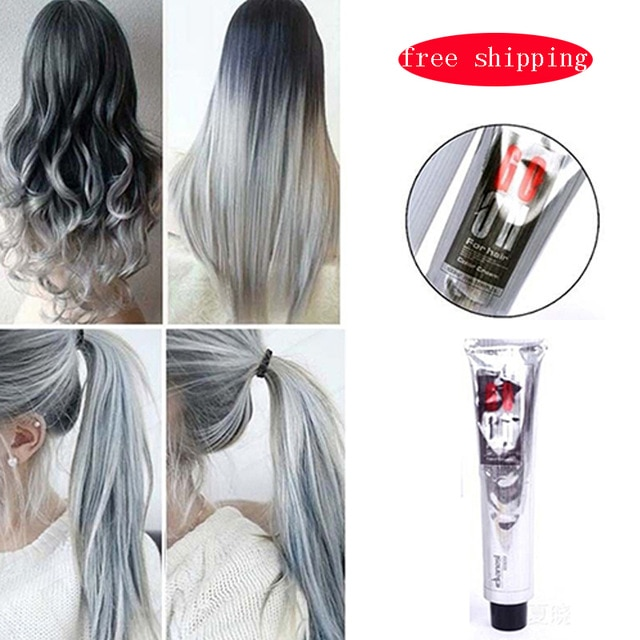 Fashion Light Gray Hair Dye Color Natural Hair Dye Permanent Cream