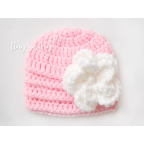 Pink Baby Girl Flower Hat Newborn Crochet Hat