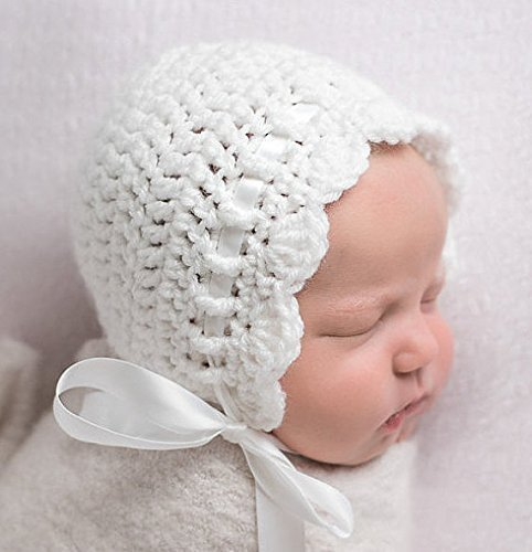Amazon.com: Newborn Baby Bonnet, White Newborn Girl Crochet Hat