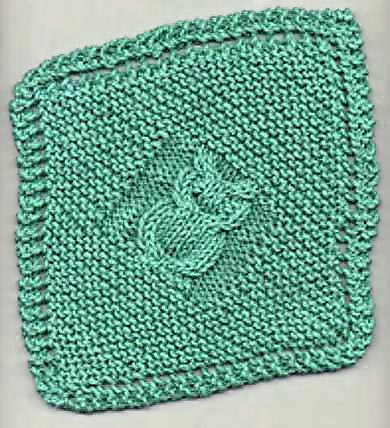 Knitting Patterns Galore - Diagonal Owl Dishcloth