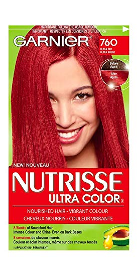Garnier Nutrisse Ultra Color 760 Ultra Red, 100% Grey Coverage Hair