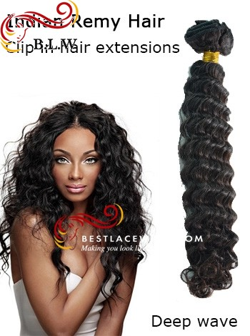 Indian Remy Hair Clip In Hair Extensions Deep Wave | www