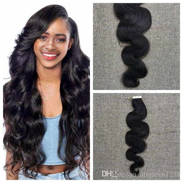 Natural Black 1b# Body Wave Remy Hair PU Skin Weft Tape In Virgin