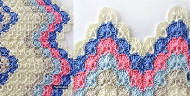 Crocheted Ripple Shell Stitch [FREE Crochet Pattern]