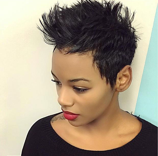 Short hairstyles with black color effect