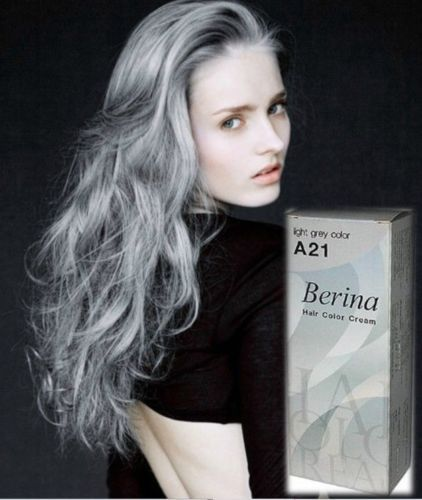 Buy Berina A21 Dye Hair Color Cream Light Grey Silver Permanent Hair