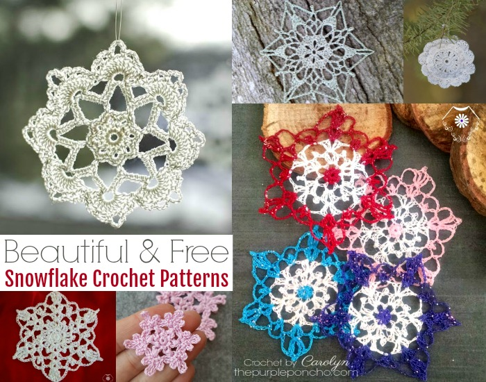 12 Beautiful & Free Snowflake Crochet Patterns
