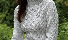 Free Knitting Pattern - Women's Sweaters: Sterling Cables Sweater