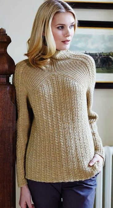 Free knitting pattern for Cable and Rib pullover sweater by Debbie