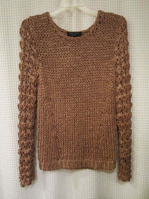 Rag & Bone Copper Metallic Open Knit Sweater L NEW | eBay