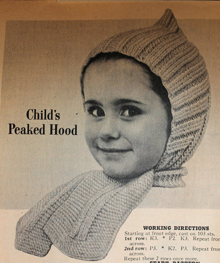 Vintage Knitting Pattern - Child's Peaked Hood with scarf - 1950's