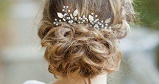 Amazon.com: Barogirl Bridal Hair Pins Set in Silver Leaf Hair Clip