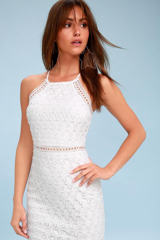 Chic White Dress - Star Dress- Sheath Dress - Lace Dress