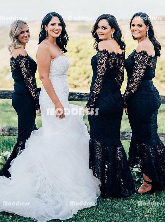 Black Lace Long Bridesmaid Dresses Mermaid Bridesmaid Dresses Off .