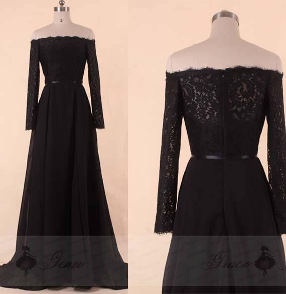 Bridesmaid Dress With SleevesOff Shoulder Wedding DressBlack | Et